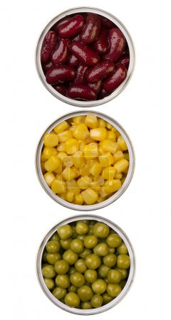 Canned beans, peas and maize in metal cans