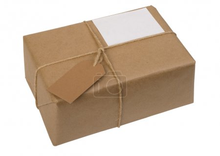 Photo for Brown paper package tied with string with label, isolated on white - Royalty Free Image