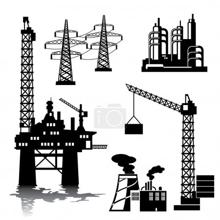 Illustration for Set of vector silhouette images of industrial buildings and structures - Royalty Free Image