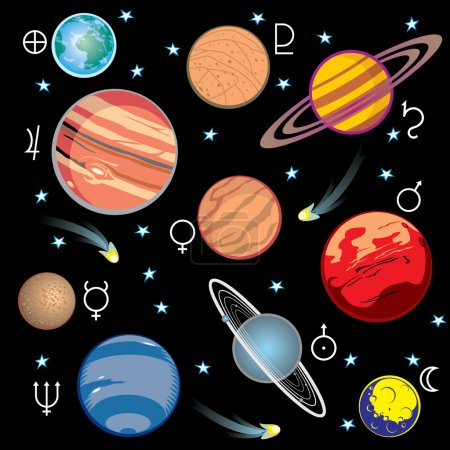 Illustration for Collection of vector images of planets in the solar system with graphical symbols - Royalty Free Image