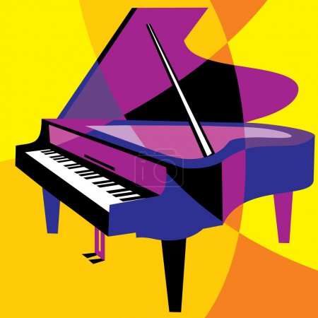 Illustration pour Piano d'image vectorielle. stylisation de la couleur recouvrant les formes. - image libre de droit