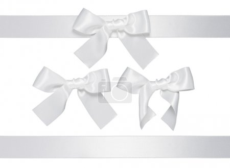 White multiple ribbon with bow, isolated