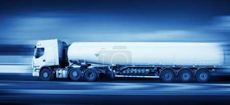 Fuel truck in motion, monohromatic