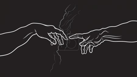The Creation of Adam. Fragment (Invert version)