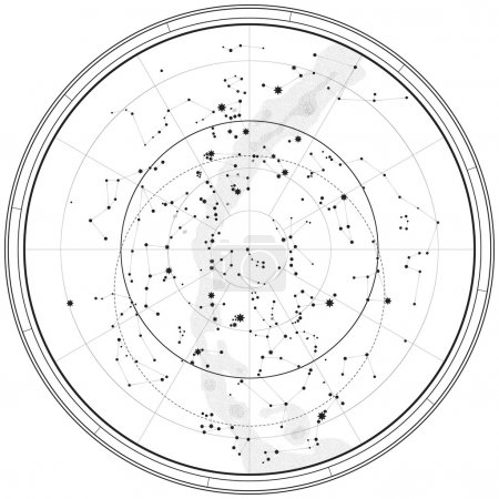 Illustration for Astronomical Celestial Map of Northern Hemisphere (Outline chart) - Royalty Free Image