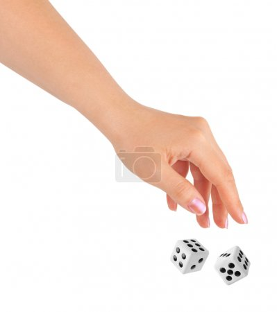 Photo for Hand throwing two dices isolated on white background - Royalty Free Image
