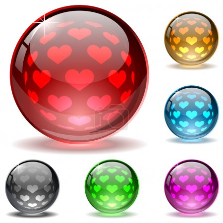 Illustration for Glossy colorful globes with hearts inner spherical pattern. - Royalty Free Image