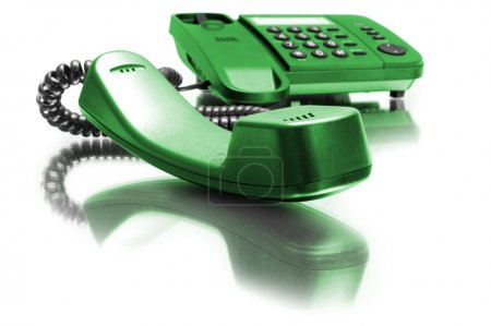 Photo for One green phone with mirror reflexion on white background - Royalty Free Image