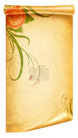 Floral vintagel background.Old paper scroll
