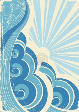 Illustration for Vintage sea waves and sun. Vector illustration of sea landscape - Royalty Free Image