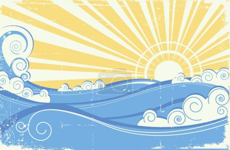 Illustration for Vintage sea waves. Vector illustration of sea landscape with sun - Royalty Free Image