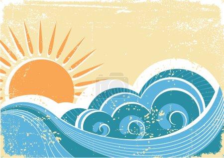 Grunge sea waves. Vintage vector illustration of sea landscape