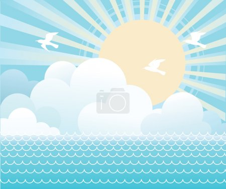 Sun and blue sky with beautifull clouds.Vector image