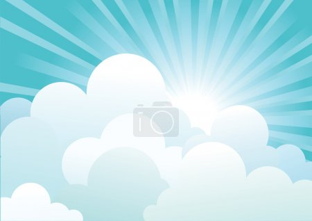 Illustration for Sun and blue sky with beautifull clouds.Vector image - Royalty Free Image