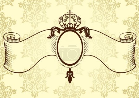 Illustration for Ribbon with crown in vintage style. Vector illustration - Royalty Free Image
