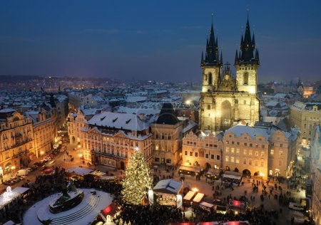 Old town square in Prague at Christmas time. Night.