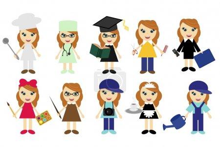 Illustration pour Jeunes femmes de dix emplois différents sur blanc - image libre de droit