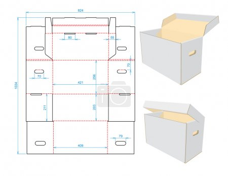 Illustration for The real technical drawing of the corrugated box - Royalty Free Image