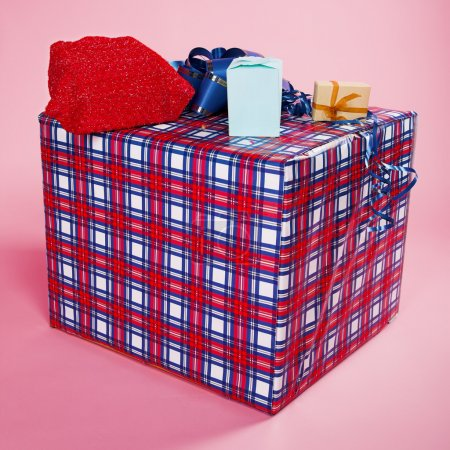 Photo for Big gift box on the pink background - Royalty Free Image