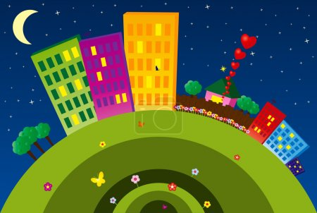 Illustration for Night funny city with buildings, flowers, butterflies and etc. - Royalty Free Image