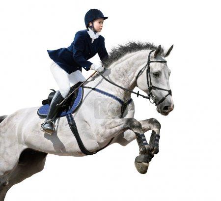 Photo pour Jeune fille sautant avec cheval gris - isolé sur blanc - image libre de droit