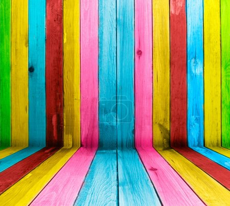Photo for Vintage multicolored wooden planks as background - Royalty Free Image