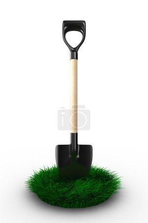 Shovel on white background. garden tool. Isolated 3D image