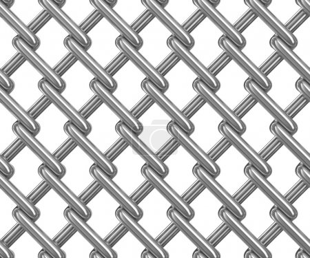 Seamless chainlink fence on white. Isolated 3D image