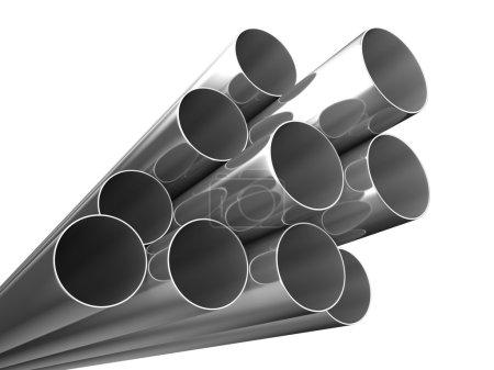 Photo pour Tuyaux métalliques sur fond blanc. image 3d isolé - image libre de droit