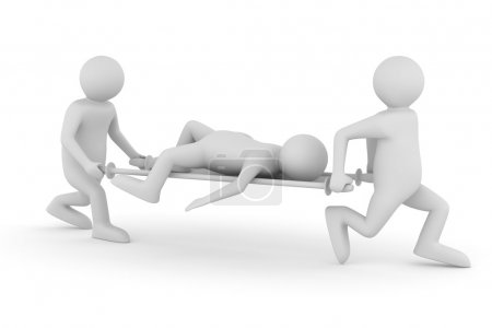 Hospital attendants transfer patient on stretcher. Isolated 3D i