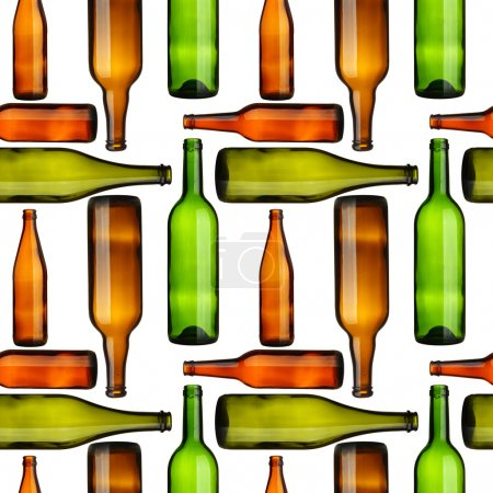 Photo pour Modèle sans couture bouteilles vides sur fond blanc - image libre de droit