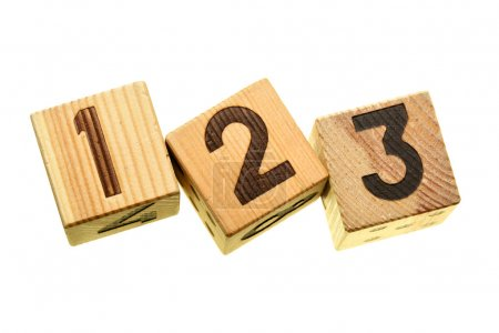 Wooden blocks with digits 123 isolated over the wh...