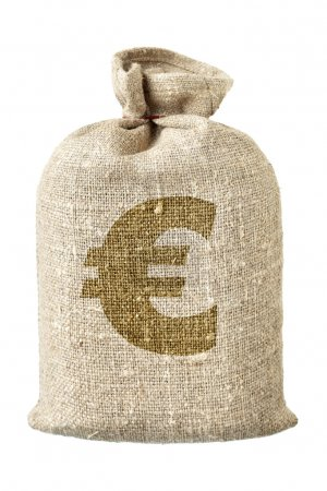 Photo for Money-bag with euro symbol isolated over the white background - Royalty Free Image