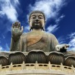 Giant Buddha sitting on lotusl. Hong Kong...