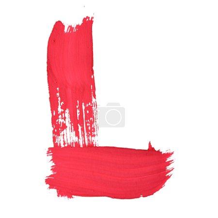 Photo pour L - Lettres manuscrites rouges sur fond blanc - image libre de droit