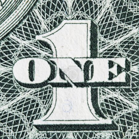 Digit One from dollar banknote close-up...