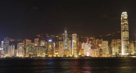 Foto de Paisaje urbano de Hong kong en la noche. sin marcas ni objetos de derechos de autor - Imagen libre de derechos