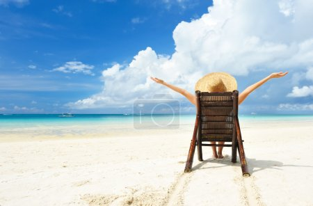 Photo for Girl on a tropical beach with hat - Royalty Free Image