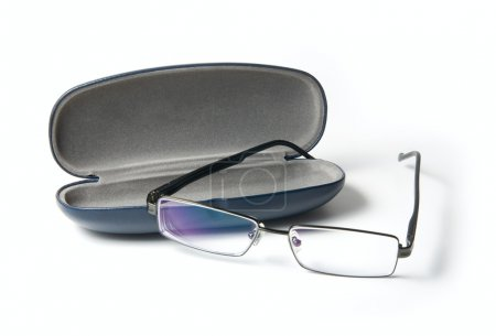 Photo for Glasses in a case on white background - Royalty Free Image