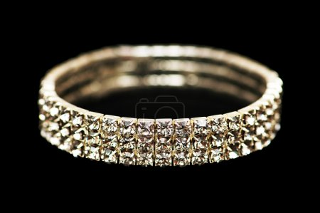 Bracelet with diamonds isolated on the black