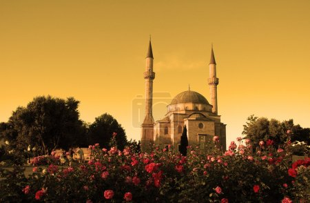 Photo for Mosque with two minarets in Baku, Azerbaijan at sunset - Royalty Free Image