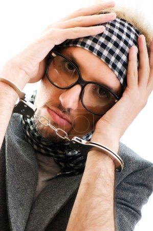 Photo pour Homme avec des lunettes en prise de vue studio - image libre de droit