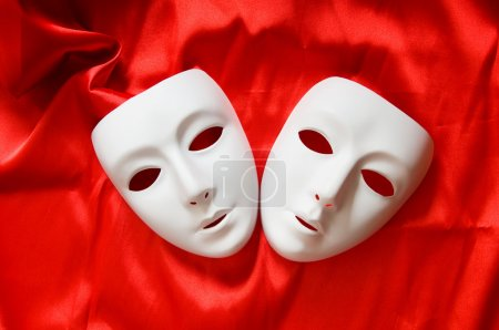 Photo for Theatre concept with the white plastic masks - Royalty Free Image
