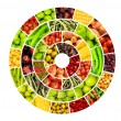 Collage of many different fruits and vegetables...
