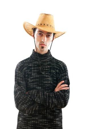 Photo pour Jeune homme portant chapeau de cowboy sur blanc - image libre de droit
