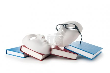 Photo for Reading concept with masks, books and glasses - Royalty Free Image
