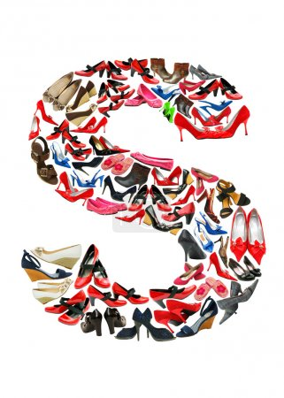 Letter S made of female shoes
