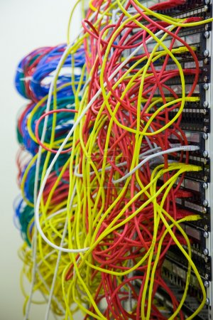Network hub and patch cables,Fiber cables connecte...