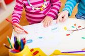 Kids drawing closeup