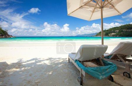 Beach chair on tropical beach